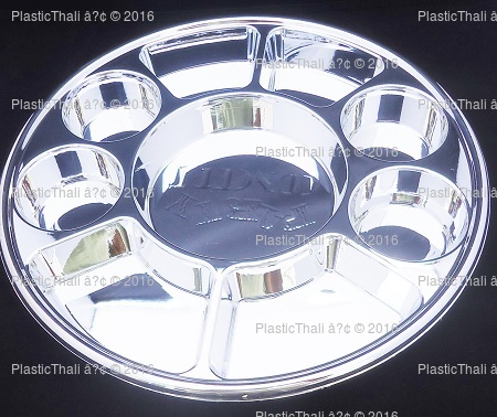 PlasticThali: Plastic plate with compartments to suit Indian food