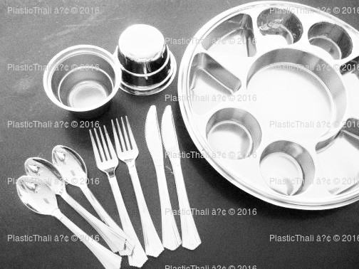 Silver 9 Compartment Platesu003e Silver 9 Compartment Plate & PlasticThali: Plastic plate with compartments to suit Indian food